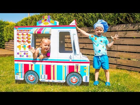 Gaby and Alex in Funny Pretend Play Story with Real Ice Cream and Truck Toy