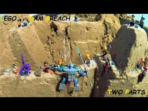 LEGO Dam Breach : LEGO City Castle in Danger by LEGO Villains and Flood... Two parts!