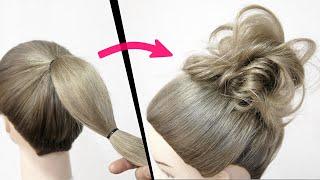 【 初心者の方必見!】編まない!巻かない!くるりんぱだけ!時短でできるゆるふわお団子のヘアアレンジ!Easy MESSY BUN |  Bun Hairstyle | Updo Hairstyle