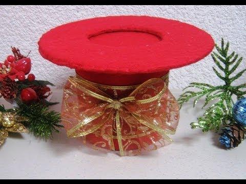 Navidad como hacer un hermoso bombonero sombrero - Como hacer un centro de navidad ...