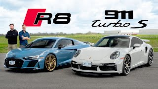 2021 Porsche 911 Turbo S vs Audi R8 V10 Decennium // DRAG RACE, ROAD & TRACK REVIEW