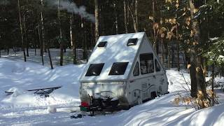 Aliner camper with  our Jeep Wrangler on a Winter Camping Trip to Hancock Campground Lincoln NH