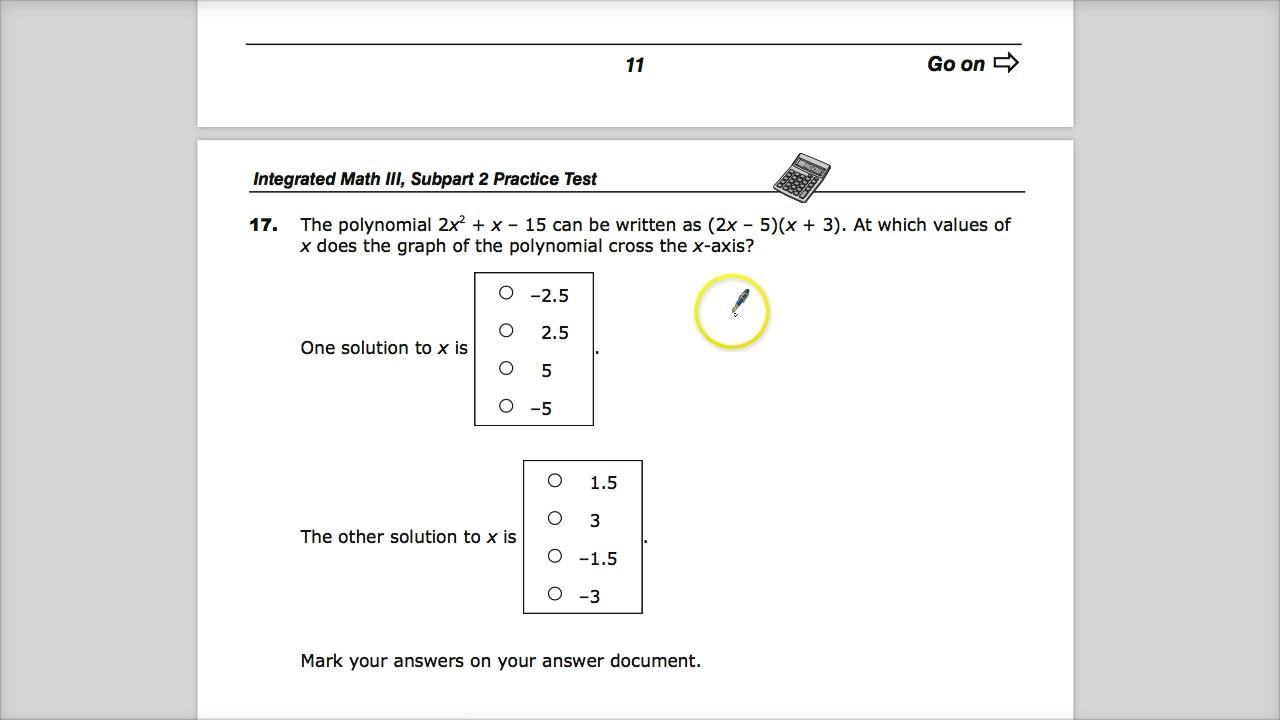 Question 17 - Integrated Math 3 - TNReady Practice Test