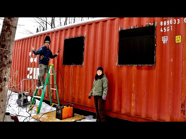 Welding Angle IRON Window Frames in Our OFF-GRID Shipping Container Cabin in the Woods