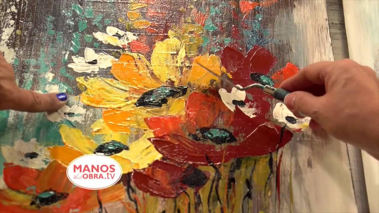Como pintar con espatula flores acrilicos youtube - Como hacer cuadros faciles en casa ...