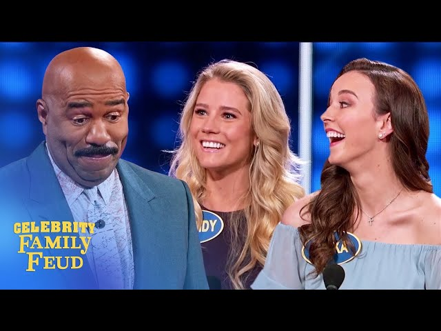 Erika and Cassidy push Steve Harvey over the edge! | Celebrity Family Feud