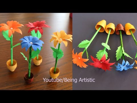 Small Paper Flower  And Pot - DIY - Handmade Craft - Home Decor