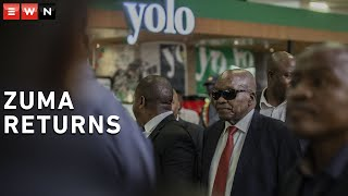 Former President Jacob Zuma arrived at the OR Tambo International Airport where hundreds of supporters had been waiting to give him a hero's welcome. Zuma returned to South Africa after leaving for Cuba, where his office said he was receiving medical treatment for an undisclosed medical condition.  #JacobZuma #ZumaArrives #Zuma