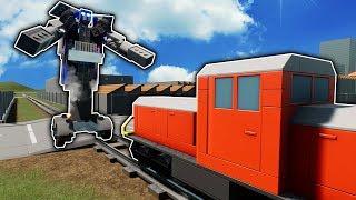 Lego Transformer Battles The Lego Train! - Brick Rigs Lego Gameplay Multiplayer