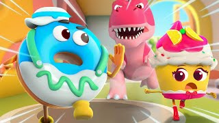 Dino Is Coming! | Donut, Burger, Cupcake | Yummy Foods Animation | Kids Cartoon | BabyBus