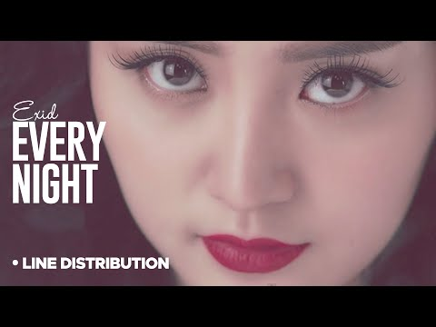 EXID - Every Night: Line Distribution (Color Coded)