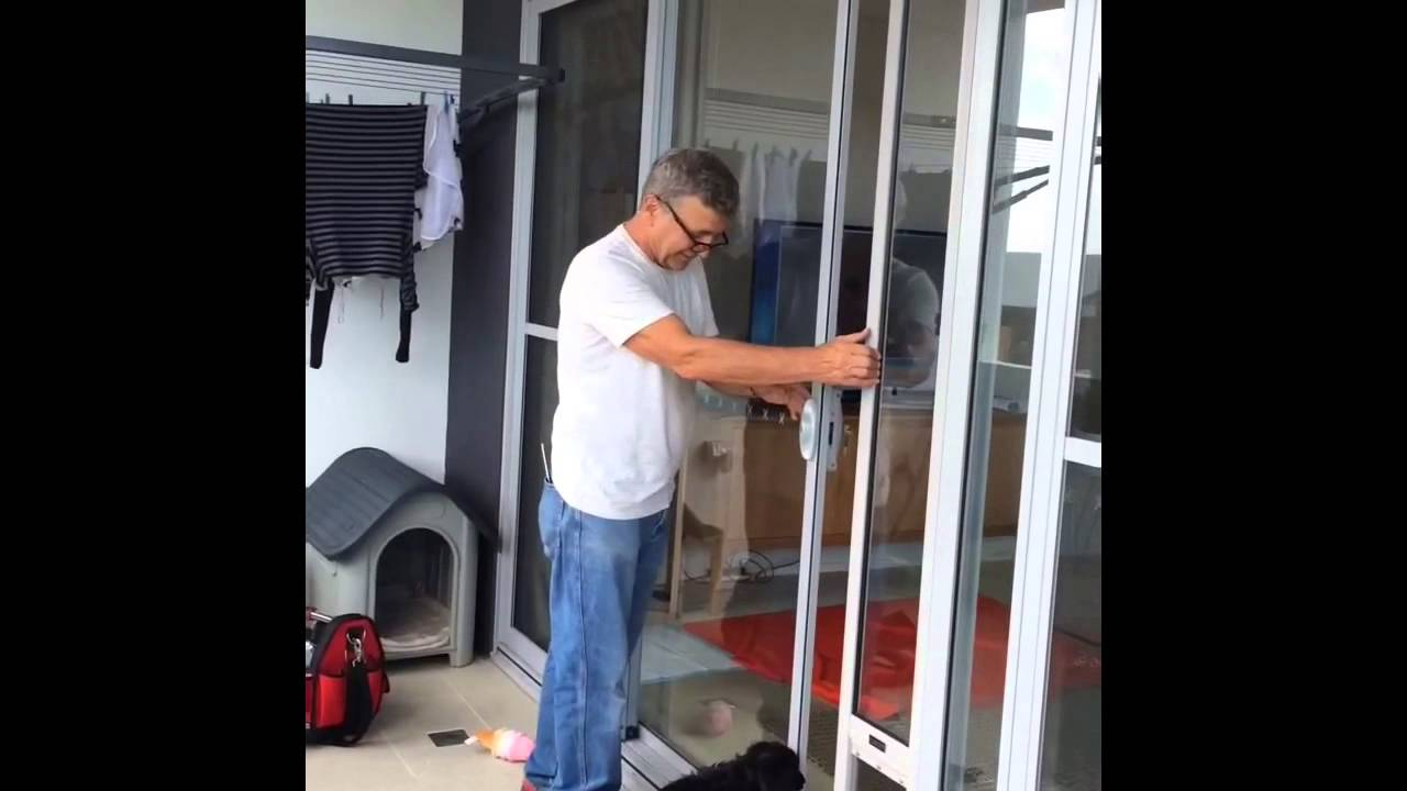 Pet Door Insert Installed In Double Sliding Doors With Wheels Youtube