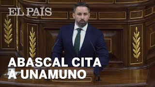 Sesión de investidura: Santiago ABASCAL (VOX) cita a UNAMUNO en su intervención
