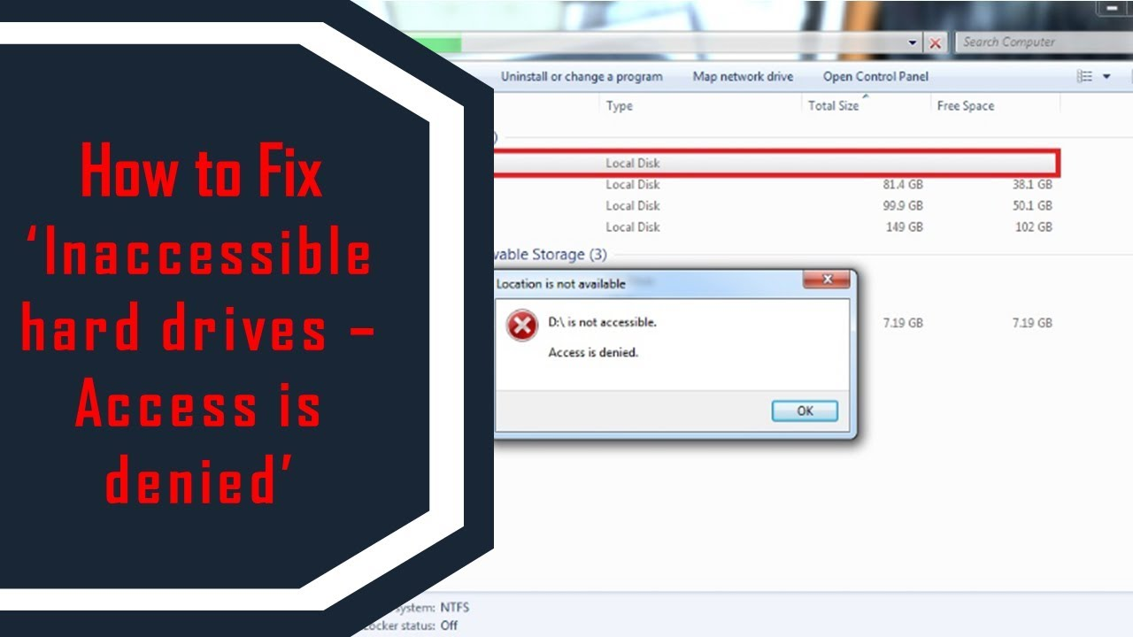 [Solved] 'Hard Drive is not accessible  Access is denied' Error | How to  Fix It