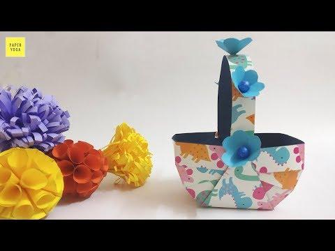 How To Make Easy Accordion Paper Basket  | DIY Beautiful Paper Basket | Christmas Gift Basket