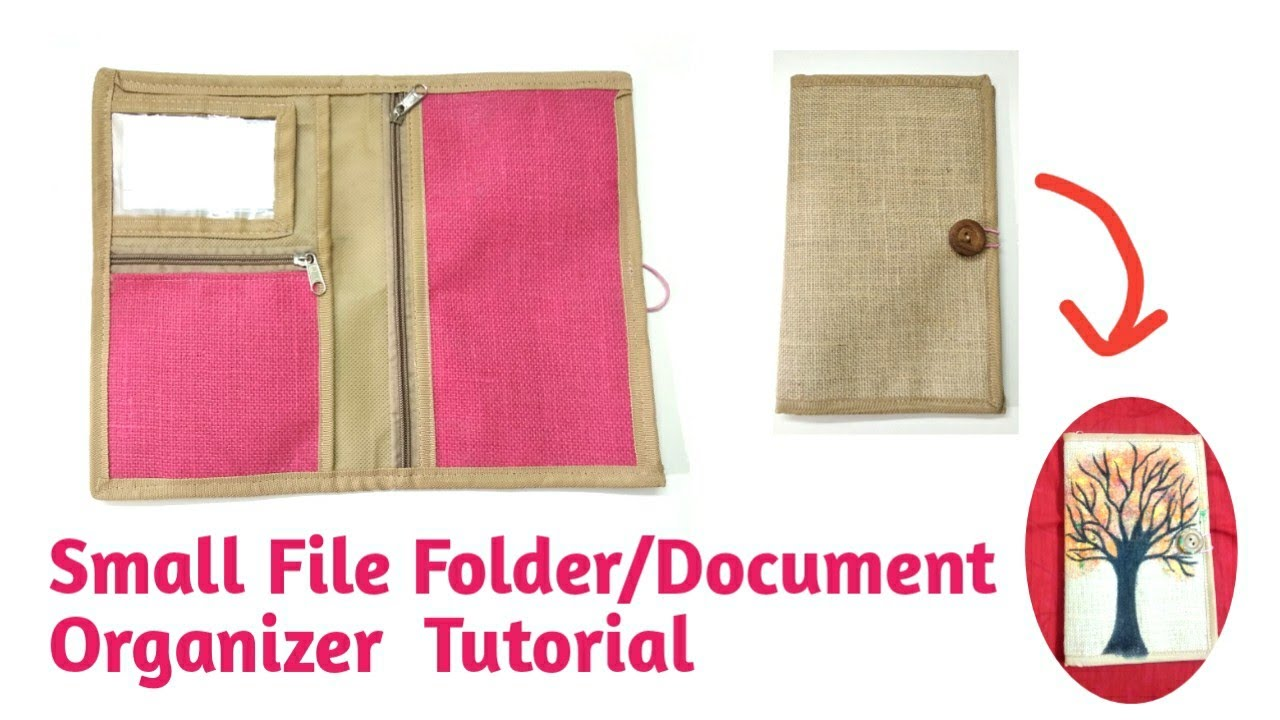 DIY Small #jute #file folder Making At Home/How To Stitch Documents #organizer In Simple way #sewing