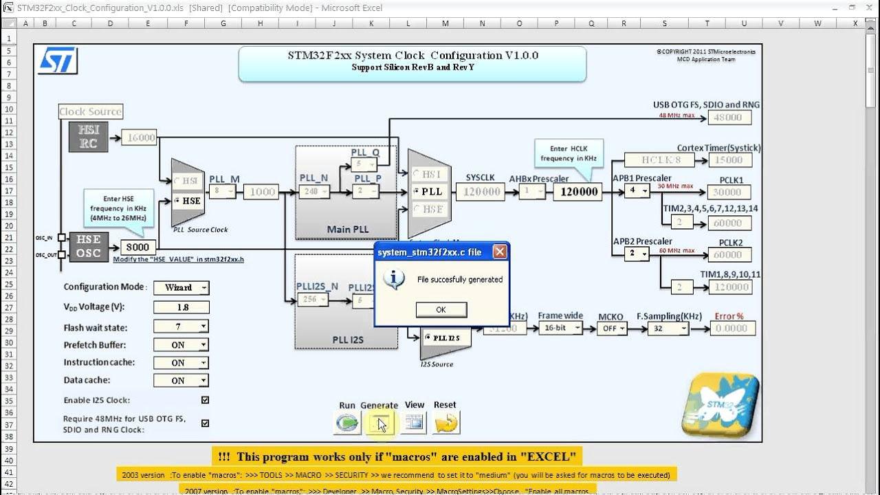 STM32 F-2 Clock Configuration Utility
