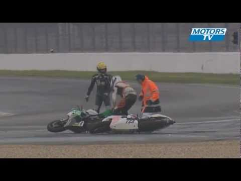 An unusual crash for two race bikes