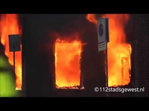 Grote uitslaande brand Burggang Middelburg 04-11-2017