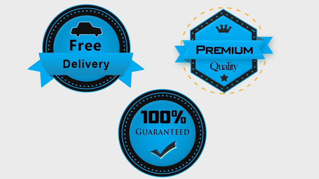 6a90faae6f0c62 2015 - Photoshop Tutorial : How to Design a Premium, Free Delivery, 100  percente Badge