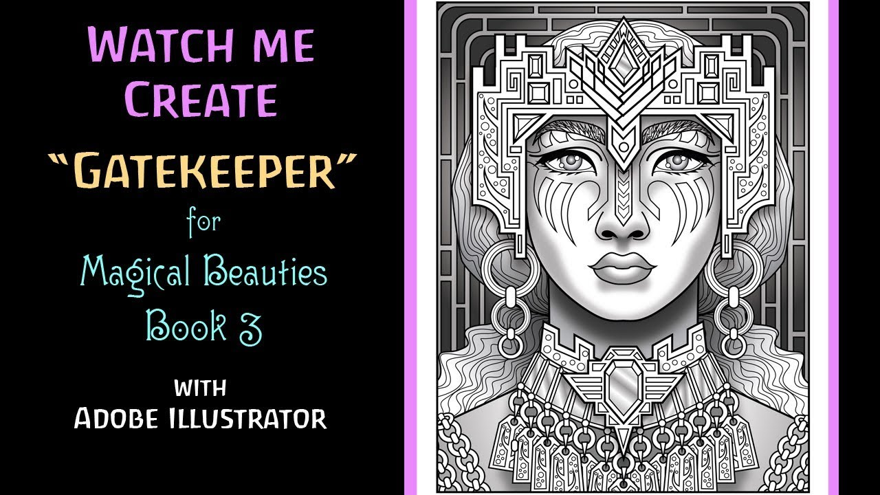 """Watch Me Create: """"Gatekeeper"""" for Magical Beauties Coloring Book 3 by Cristina McAllister - YouTube"""