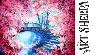 Cherry Tree Bridge How to paint with Acrylic on Canvas Artist knife thumbnail