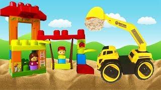 Про Машинки для Детей - Экскаватор и Синий Трактор на детской площадке - Видео про машинки 2019