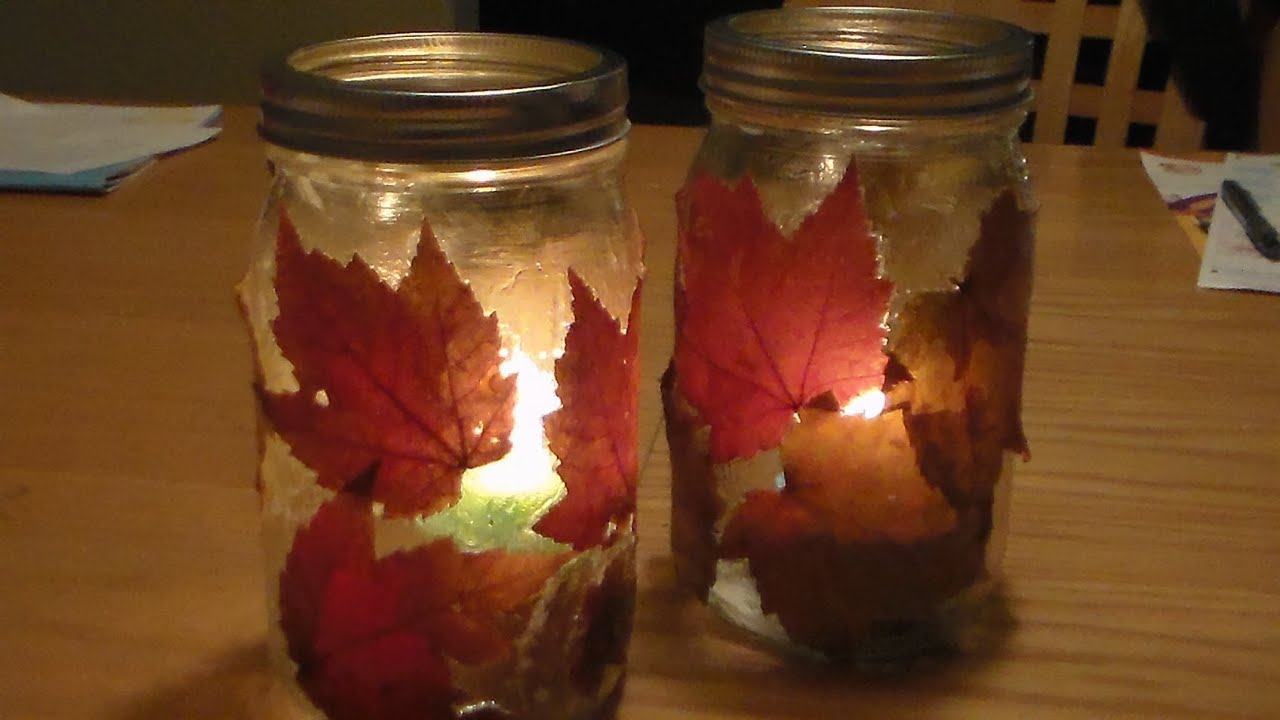 diy fall lantern diy autumn candle jar holder youtube