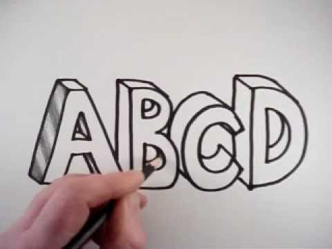 How to Draw 3D Letters A B C D - YouTube