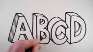 How to Draw 3D Letters: A B C D