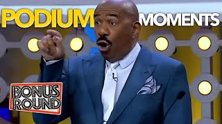 FUNNY PODIUM MOMENTS WITH STEVE HARVEY ON Family Feud Africa!