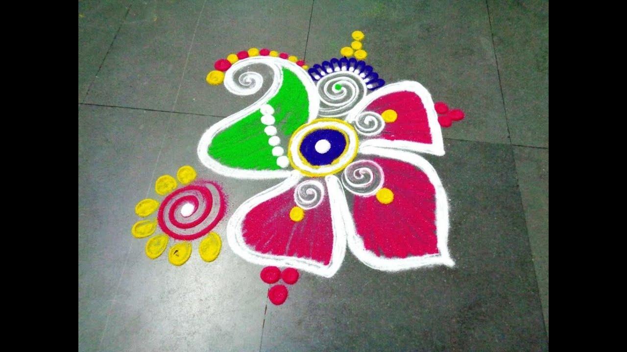 how to make fancy flower latest rangoli - YouTube for Simple Rangoli Designs For Diwali With Flowers  166kxo