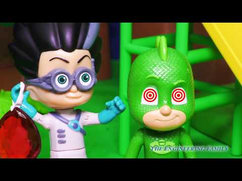 PJ MASKS Disney Junior Romeo Hypnotize Gekko Hide and Seek! Catboy Owlette Finds Gekko Toy Parody