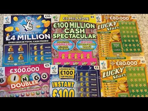 scratch cards..£4 Million blue 🤞Cash spectacular 🍀lucky Stars 🌟 Instant £100 🍀Bingo Doubler 😊😊