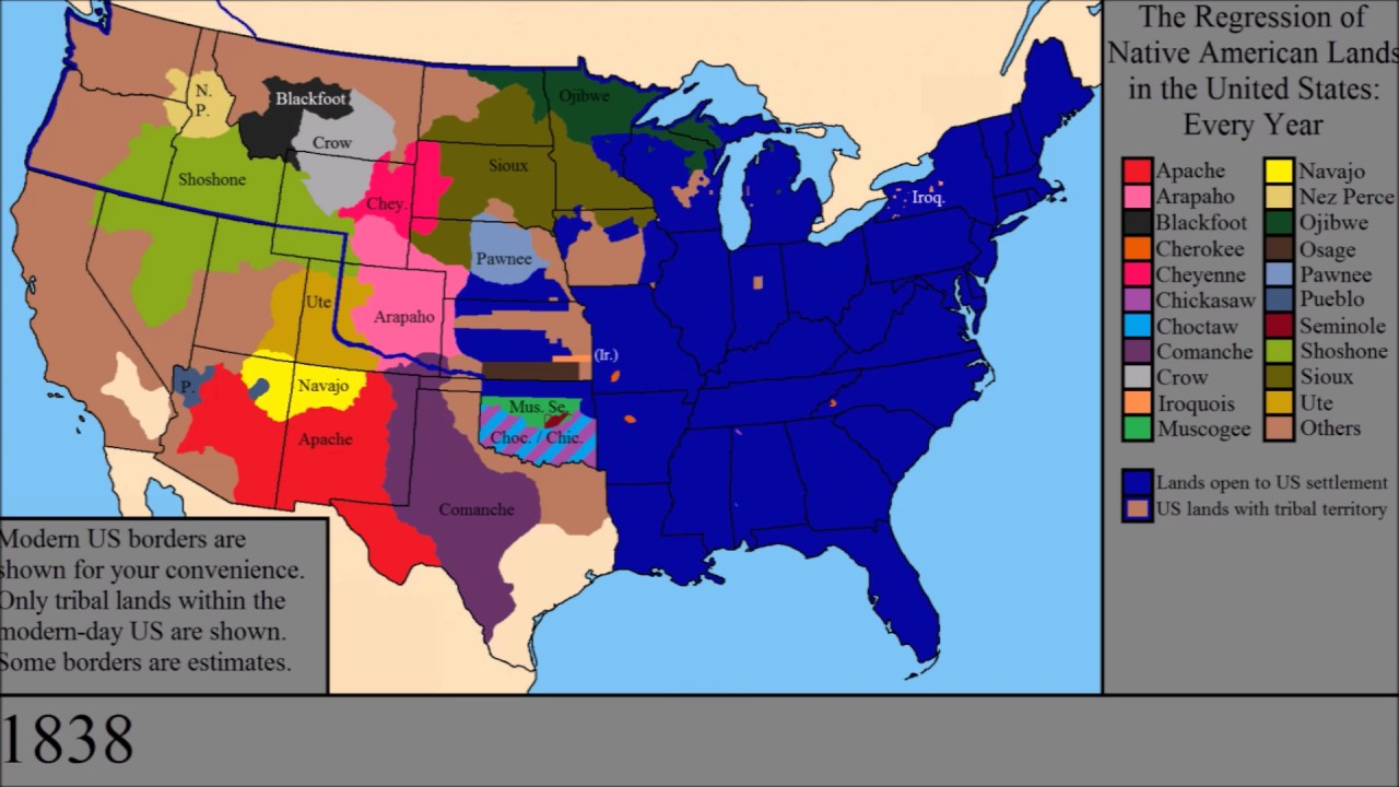 Native American Map Before Colonization.The Loss Of Native American Lands Within The Us Every Year Youtube