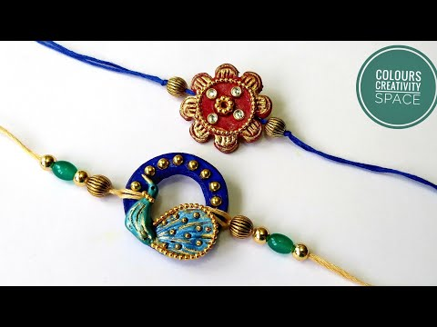 Clay Rakhi making Idea / Handmade Rakhi for Rakshabandhan/Kundan Rakhi/ Unique Rakhi Diy