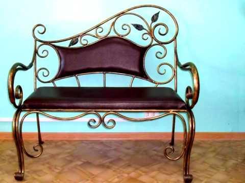 Кованая скамейка в прихожую со спинкой с сиденьем