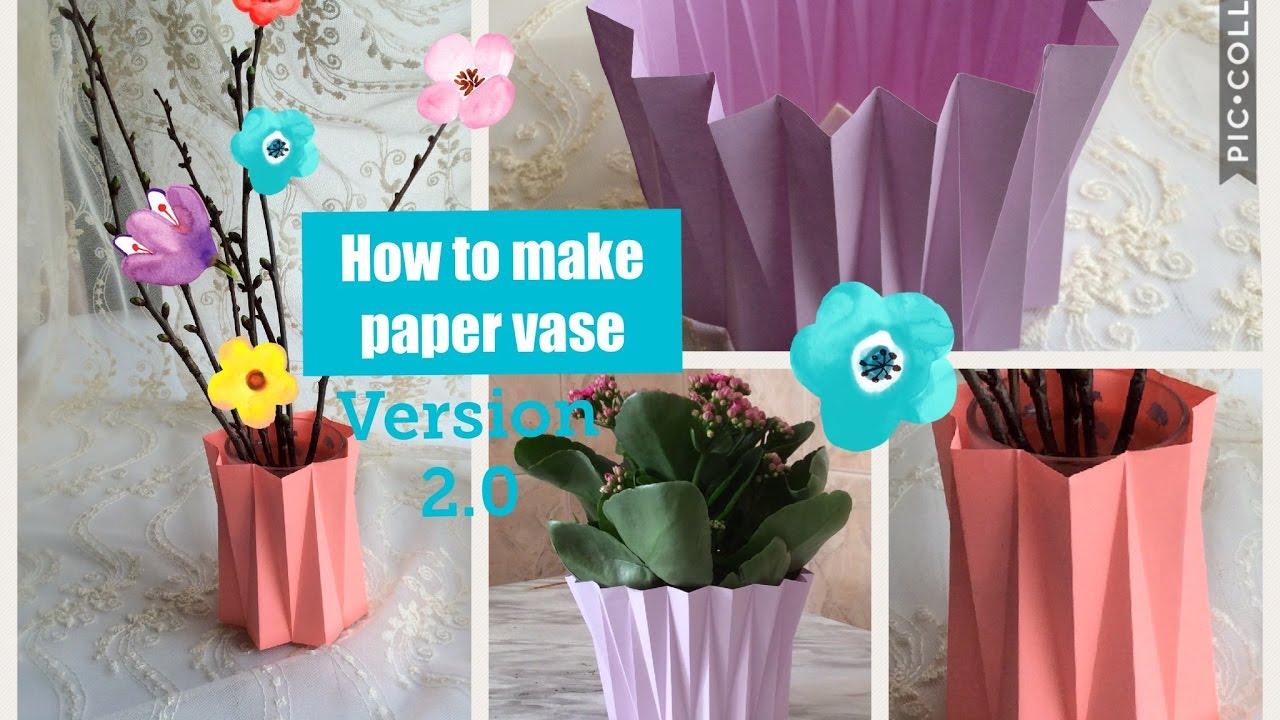How To Make Paper Vase. 🌳 DIY Craft. Version2.0. Decoration Ideas. Flower  Pot.