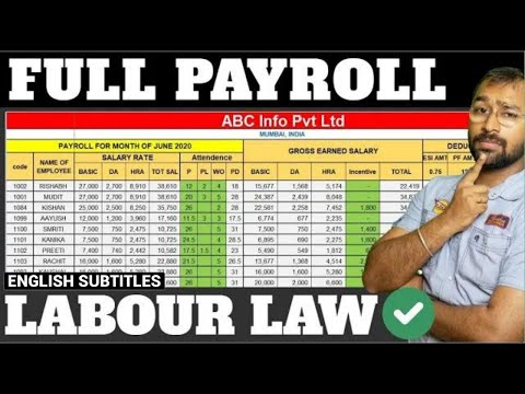 🔴How to make Payroll in Excel for beginners   Payroll Calculation as per Labour Laws