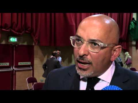 Nadhim Zahawi MP reaction after his win in the 2015 General Election in Stratford-on-Avon