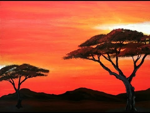 African painting-Trees-- Acrylic painting for beginners- Easy painting