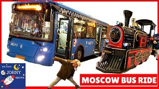 Johny's Bus Ride In Moscow, Russia To Giant Toy Store | Busses For Kids