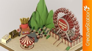 Funfair - 3D low poly Speed art (#Cinema4D) | CreativeStation