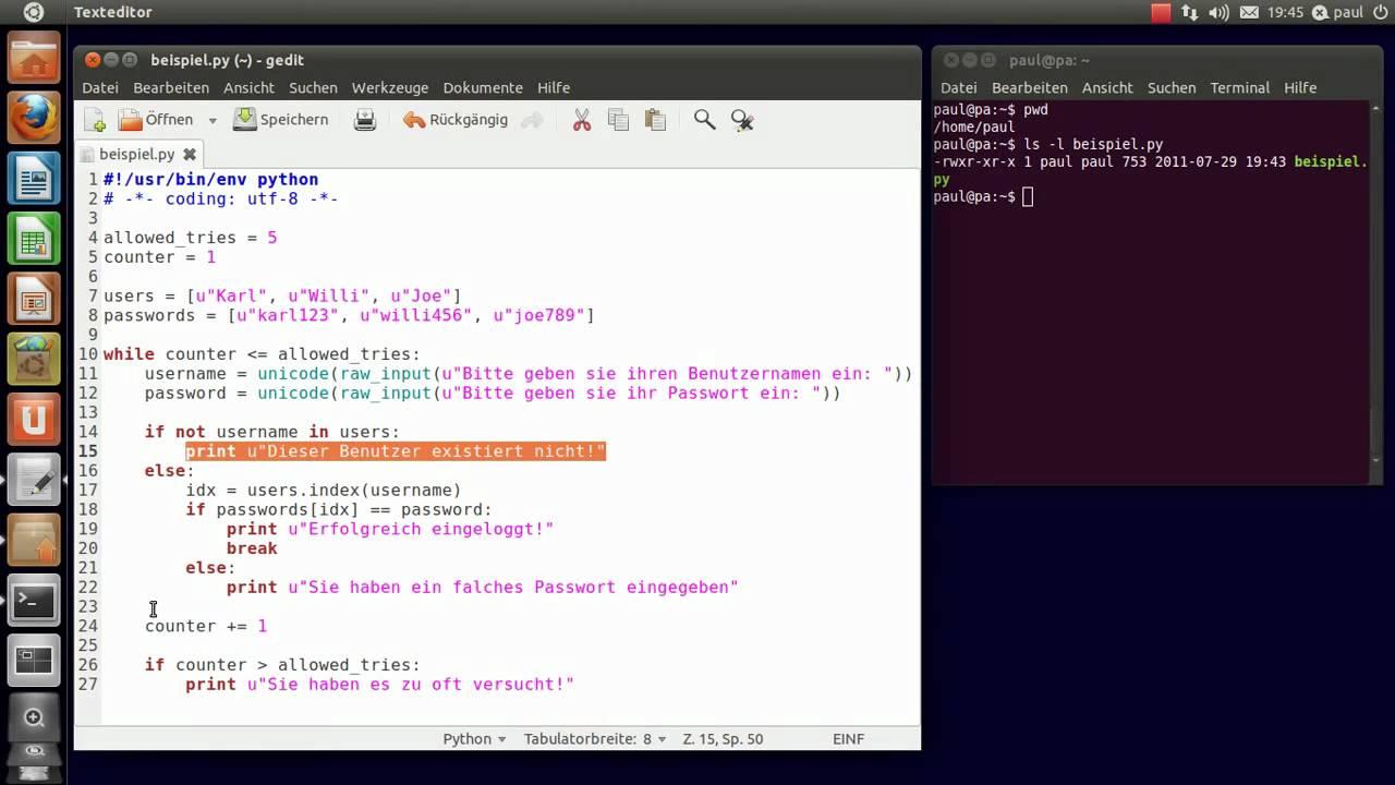 Python Programmierung Ein Kleines Beispiel Youtube