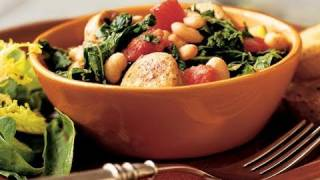White Bean And Sausage Ragout With Tomatoes, Kale, And Zucchini Recipe