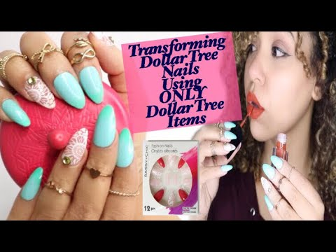Transforming Dollar Tree Fake Nails Using ONLY Dollar Tree | DIY Fake Nails