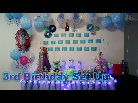 How To Set Up Frozen Birthday Table Centerpiece Skirting W Lights
