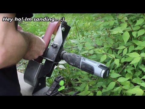 Metal working: Belt sander attachment to Dremel rotary tool. (Workstation part. 1 )