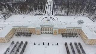 Зимний Петергоф (Большой дворец, Ольгин и Царицын павильоны) с высоты - Winter Peterhof