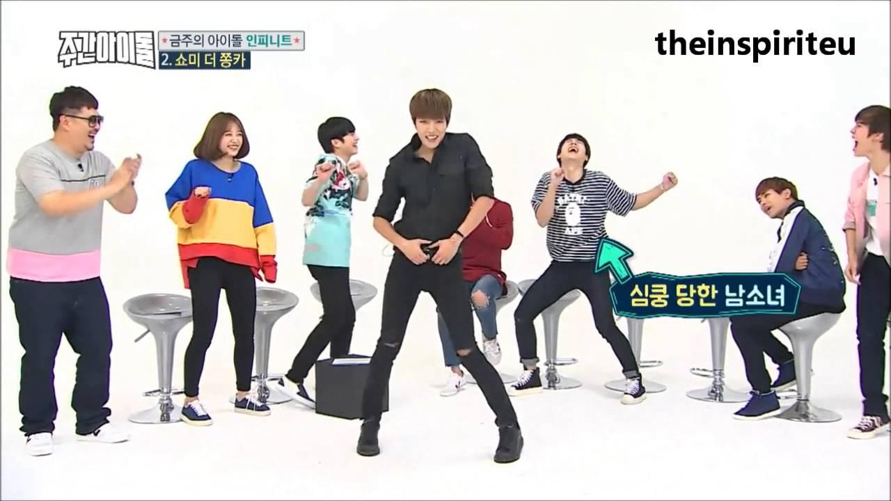 "Infinite Woohyun imitating Sungyeol go ""심쿵 심쿵"" for 2 ..."